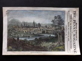 Penny Magazine 1834 Hand Col Print. Oxford from the Abingdon Road